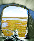 Inside of tent with view on lake Royalty Free Stock Photo