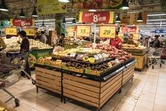 Inside TESCO supermarket, Szanghaj Obraz Stock