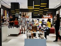 Inside at Tezyo store at mall AFI Cotroceni, Romania. Men and women shoes, sports and heel stock photos