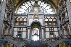 Inside The Central Train Station In Antwerp Royalty Free Stock Image