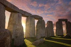 Free Inside The Stonehenge Circle Of Stones With A Dramatic Sky Sunrise Behind It Stock Images - 167852474
