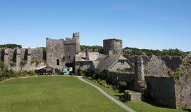 Inside The Walls Of Manorbier Castle In Wales Stock Photo