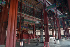 Inside the throne hall at the Gyeongbokgung Palace in Seoul royalty free stock image