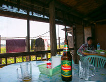 Inside tipical restaurant with Myanmar beer Royalty Free Stock Photography