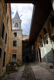 Inside Topkapi pateo with tower stock images