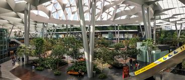 Inside Toreo Parque Central in Naucalpan, Mexico. Panorama. NAUCALPAN, MEXICO-August 16, 2017. A panoramic view inside the multi level Toreo Parque Central royalty free stock photo