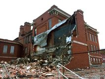 Inside of torn down school in daylight 01 royalty free stock images