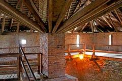 Inside tower of Medzhybizh castle, Ukraine Stock Photos