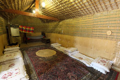Inside of a traditional bedouin tent Stock Image