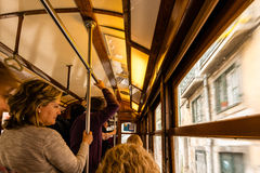 Inside a traditional old tram of Lisbon Royalty Free Stock Image