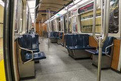 Montreal subway inside a train. Inside a train of  Montreal`s subway called the metro stock photo