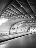 Inside the train station in daytime in summer in black and white Royalty Free Stock Photography
