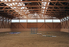 Inside of a training ground for horses Stock Images