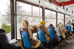 Inside tram. Royalty Free Stock Photos