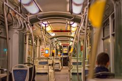 Inside the tram. In Zagreb, Croatia Stock Photos