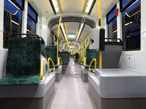 Inside empty tram at night Stock Images