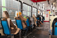 Inside tramwaj. Obrazy Royalty Free