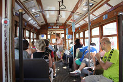 Inside a tramway in Lisbon, Portugal Stock Photography