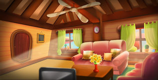 Inside of Tree House, Warm Cabin. Video Game`s Digital CG Artwork, Concept Illustration, Realistic Cartoon Style Background Stock Photography