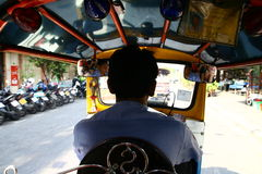 Inside tuc tuc in Bangkok Royalty Free Stock Photography