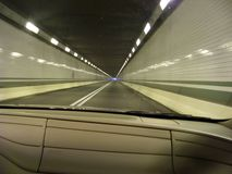 Inside tunnel on Pennsylvania Turnpike. Driving westbound on PA turnpike inside tunnel.  OCT. 2014 Stock Photos