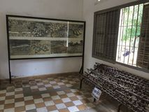 Inside The Tuol Sleng Genocide Museum with restriction devices and photography. Inside the museum showing photography and device to restrict people Royalty Free Stock Photos