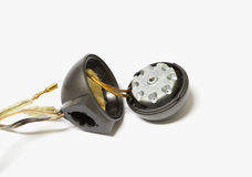 Inside of tweeter. Old magnet inside car audio tweeter speaker on white background royalty free stock images