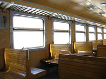Inside of Ukrainian carriage of electric train Stock Photo