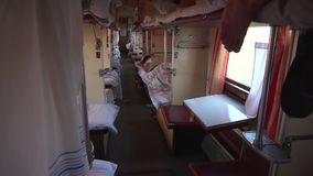 Inside ukrainian second class train stock video footage