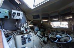 Inside the unified command-staff vehicle R-149MA1 of russian arm. Samara, Russia - January 27, 2018: Inside the unified command-staff vehicle R-149MA1 of russian Stock Photos