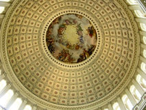 Inside of US Capitol Rotunda. Looking up into the rotunda at the United States Capitol dome in Washington, DC - USA Royalty Free Stock Photos