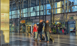 Inside Vaclav Havel Airport Prague. Prague international airport of the Czech Republic. People buying tickets inside airport Royalty Free Stock Images
