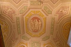 Inside the Vatican Museum one of the largest museums in the world Vatican Galleries frescoes. Royalty Free Stock Photo