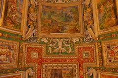 Inside the Vatican Museum one of the largest museums in the world Vatican Galleries frescoes. Italy Royalty Free Stock Photo
