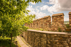 Inside Veliko Tarnovo castle. Veliko Tarnovo castle wall, Bulgaria Royalty Free Stock Photo