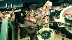 Inside Vhs Recorder: the mechanism start working stock video