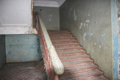 Inside view of an abandoned house, oldest stairs Royalty Free Stock Photography