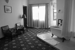 Inside view of acient hotel in Lam Dong, Vietnam.  Royalty Free Stock Photos