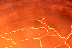 Inside view of the active volcano with lava flow in Volcano National Park, Big Island of Hawaii Stock Photos