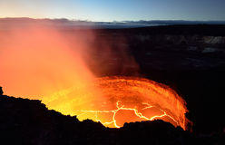 Inside view of an active volcano with lava flow in Volcano National Park, Big Island of Hawaii Royalty Free Stock Images