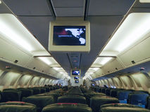 Inside view of an Airplane. Soon to be on its way. Location on the screen is Washington DC Stock Photography