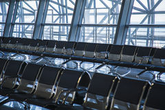 Inside view airport or railway station - seating in the hall Royalty Free Stock Photo