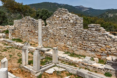 Inside view of  ancient church in Archaeological site of Aliki, Thassos island, Greece Royalty Free Stock Images