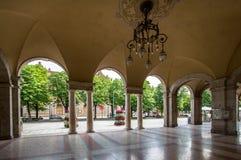 Arches of the Quadriportico gallery in Bergamo, Italy. Inside view of the arcade of the Quadriportico gallery in Bergamo, Italy Stock Photos
