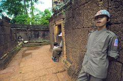 Inside view of  Banteay Srey Wat Royalty Free Stock Photos