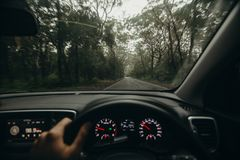 Inside view of car steering wheel while driving across Australian road. Royalty Free Stock Image
