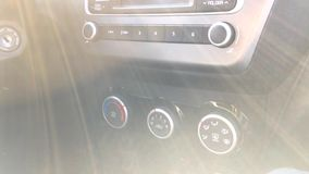 Inside view car transportation and vehicle concept - car the audio stereo lock system ignition. Inside view car transportation and vehicle concept - car audio stock video footage