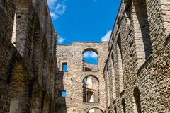 Inside view of the castle ruin Borgholm in Sweden Royalty Free Stock Photos