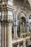 Inside view of the Cathedral in Jaen, monumental main organ insi Royalty Free Stock Images