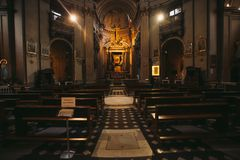 An inside view of Church of Santa Maria dei Miracoli in front of Piazza del Popolo People`s Square in Rome royalty free stock image